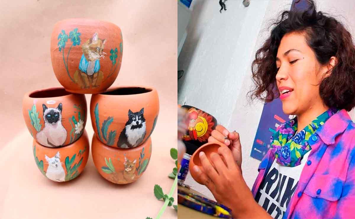 ¿Eres gran amante de los animales? Mexiquense realiza retratos de tu gatito o perrito en macetas