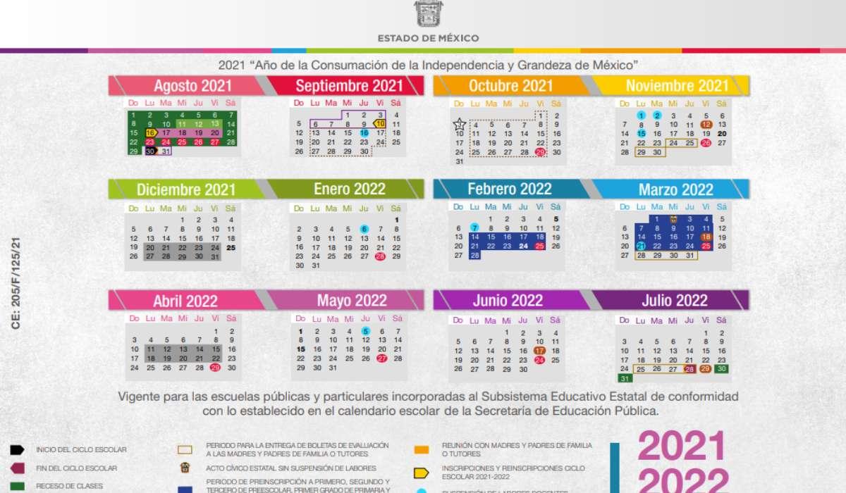 Calendario SEP 2021-2022 EdoMéx disponible en PDF para descargar