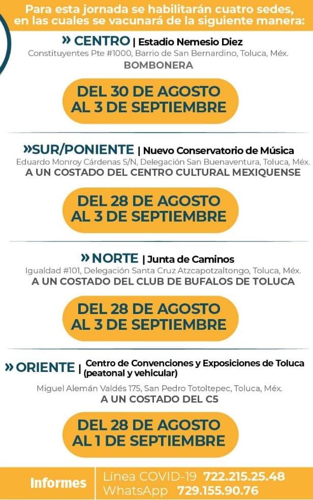 Fechas de vacunación para los jóvenes de 18 a 29 años de Toluca