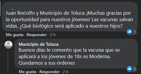 que vacuna aplicarán a los jovenes de 18 a 29 en Toluca
