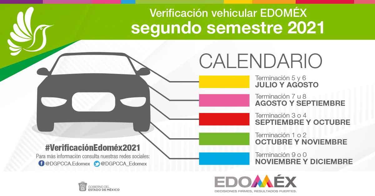 Te recordamos sobre las fechas del segundo semestre para la verificación vehicular en el Edomez 2021, además te decimos cómo agendar tu cita y las demás fechas según la terminación de placas y engomado de tu auto
