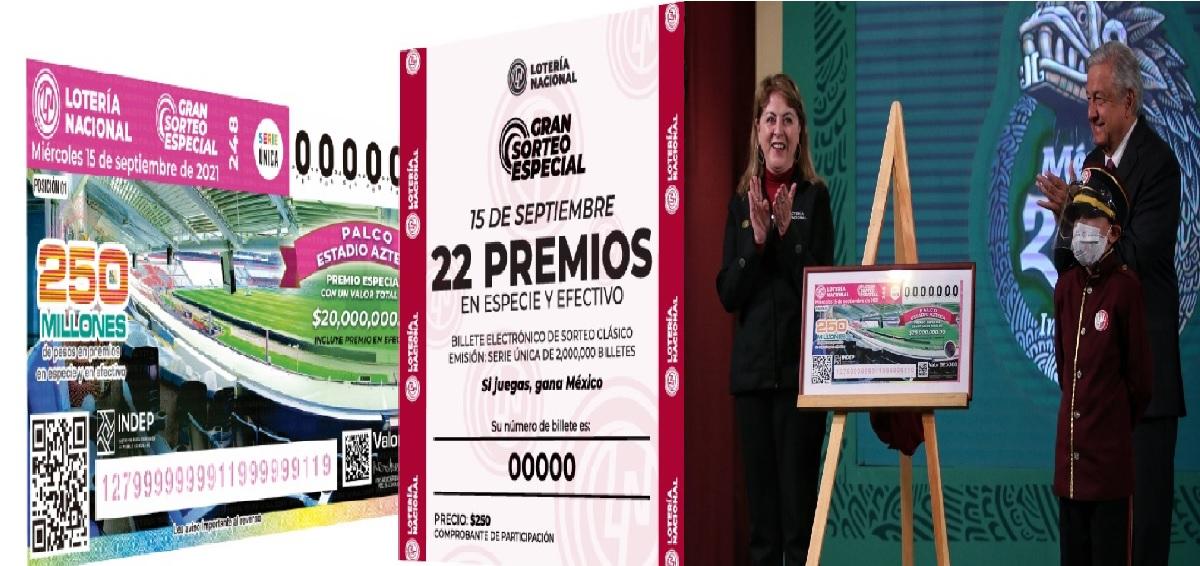 Conoce los premios y costo del boleto de la Lotería Nacional del 15 de septiembre