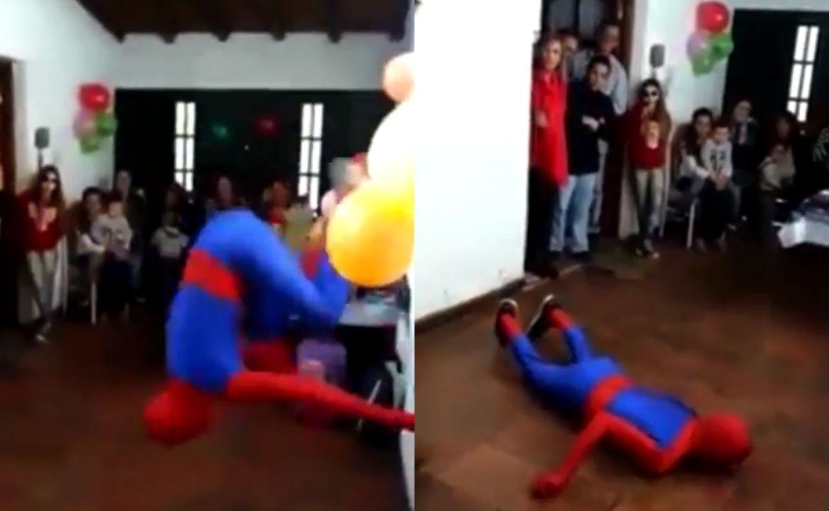 Spiderman termina inconsciente en fiesta infantil y video se hace viral